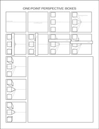 one-point perspective worksheet: boxes