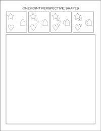 one-point perspective worksheet: shapes