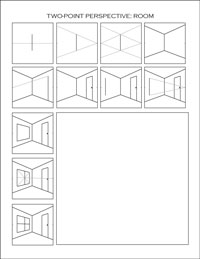 two-point perspective worksheet: room