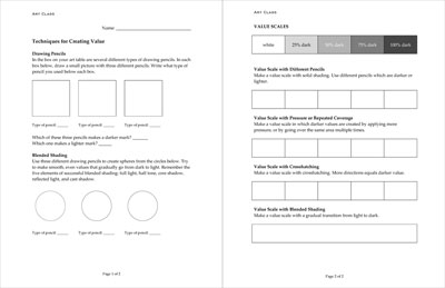 worksheet: shading - value techniques