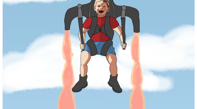 Theo and Jetpack Photoshop Painting by Dawn Pedersen