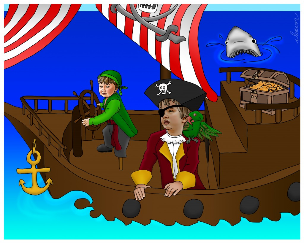 Buccaneers Ethan and Liam Photoshop Painting by Dawn Pedersen