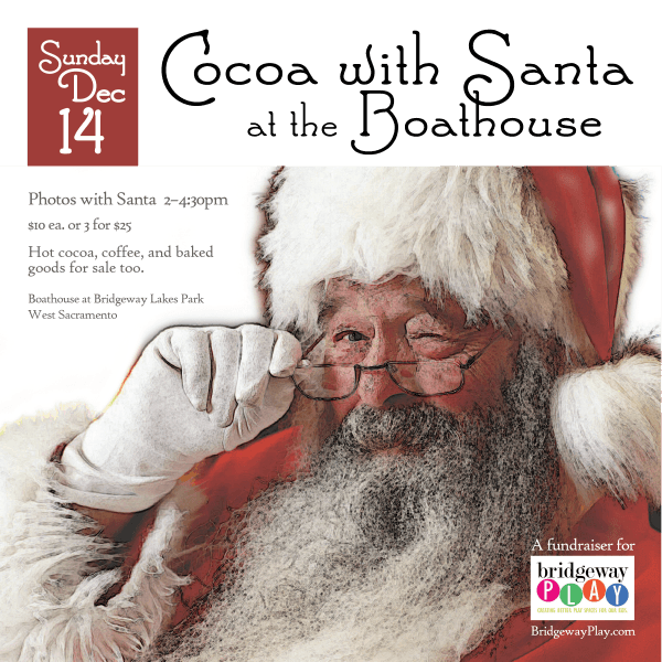 Cocoa with Santa: 1200x1200px social graphic