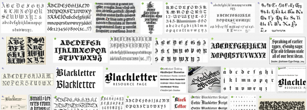 Blackletter image search results on Google