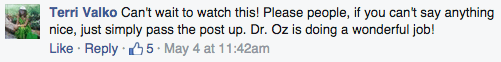 Dr. Mehmet Oz Facebook comment