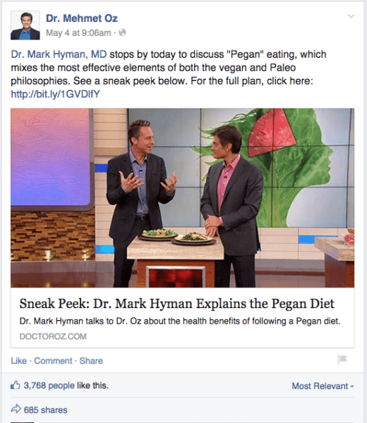 Dr. Mehmet Oz Facebook post