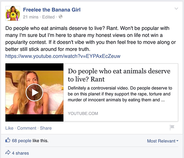 Freelee the Banana Girl Facebook post