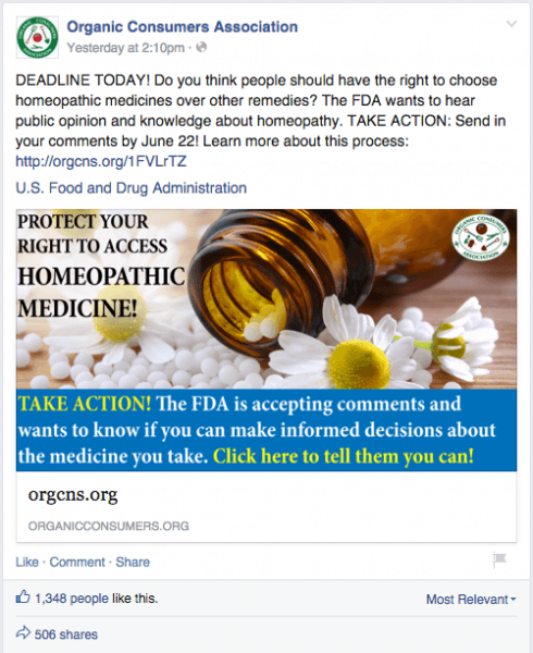 Organic Consumers Association Facebook post