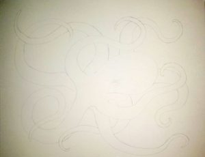 Octopus Coloring Page drawing progress #1