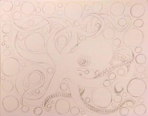 Octopus Coloring Page drawing progress #2