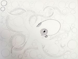 Octopus Coloring Page drawing progress #3