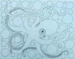 Octopus Coloring Page drawing progress #4