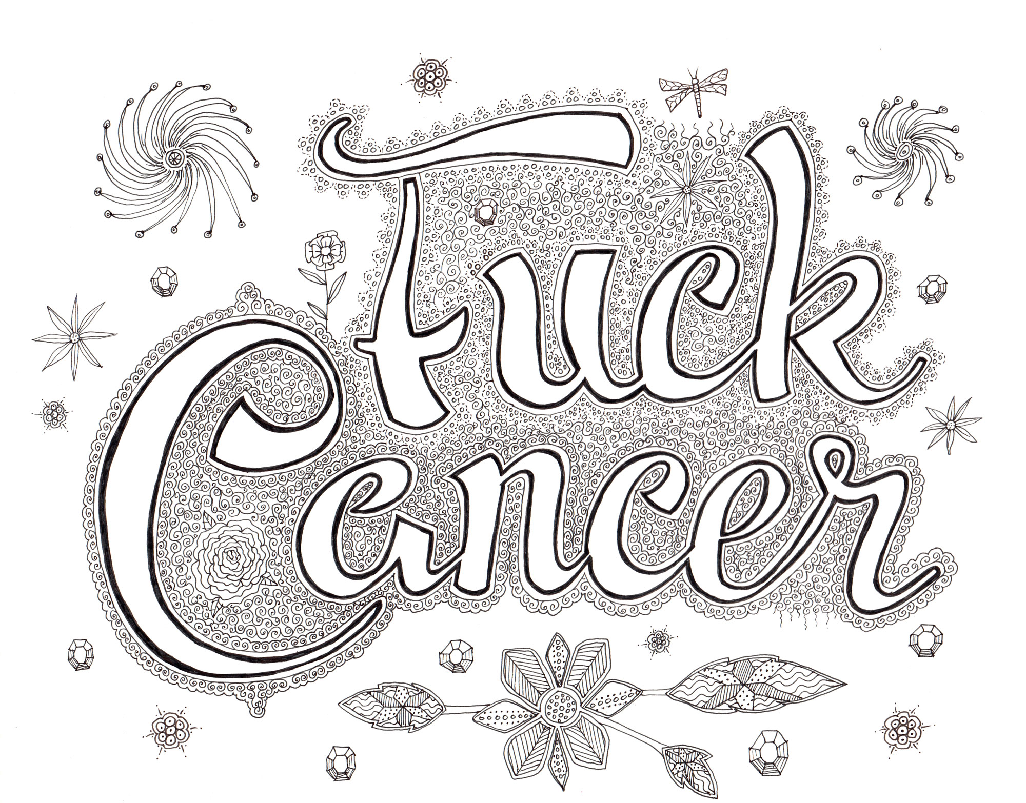 Fuck Cancer Coloring Page