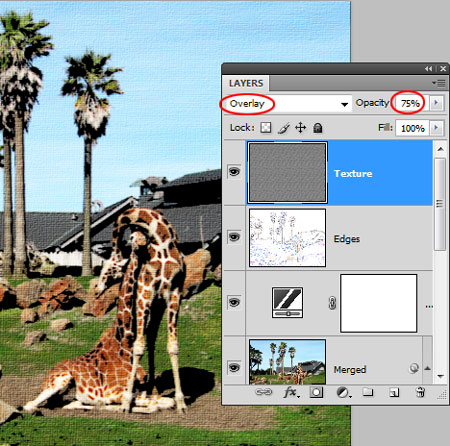 Overlay blend mode and 75% opacity