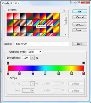 Spectrum gradient