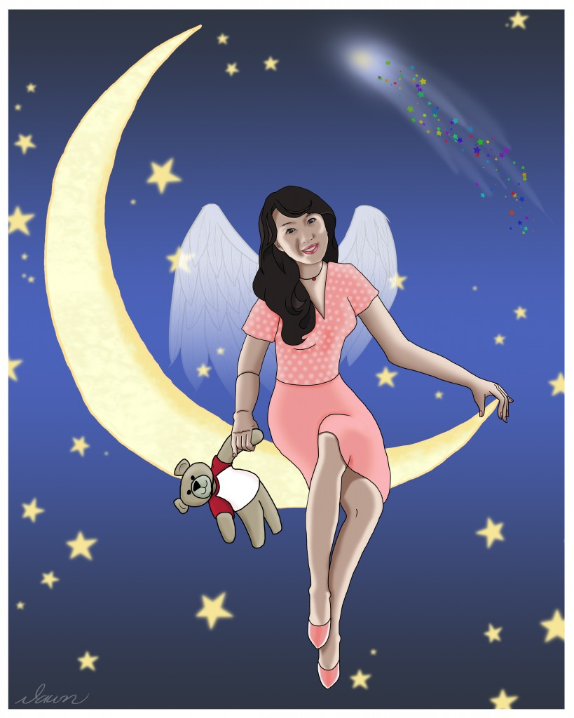 Maya on the Moon Photoshop Painting by Dawn Pedersen