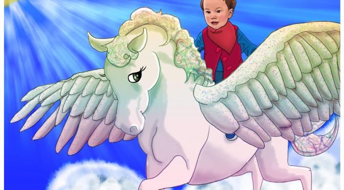 Ciara on Pegasus Photoshop Painting by Dawn Pedersen