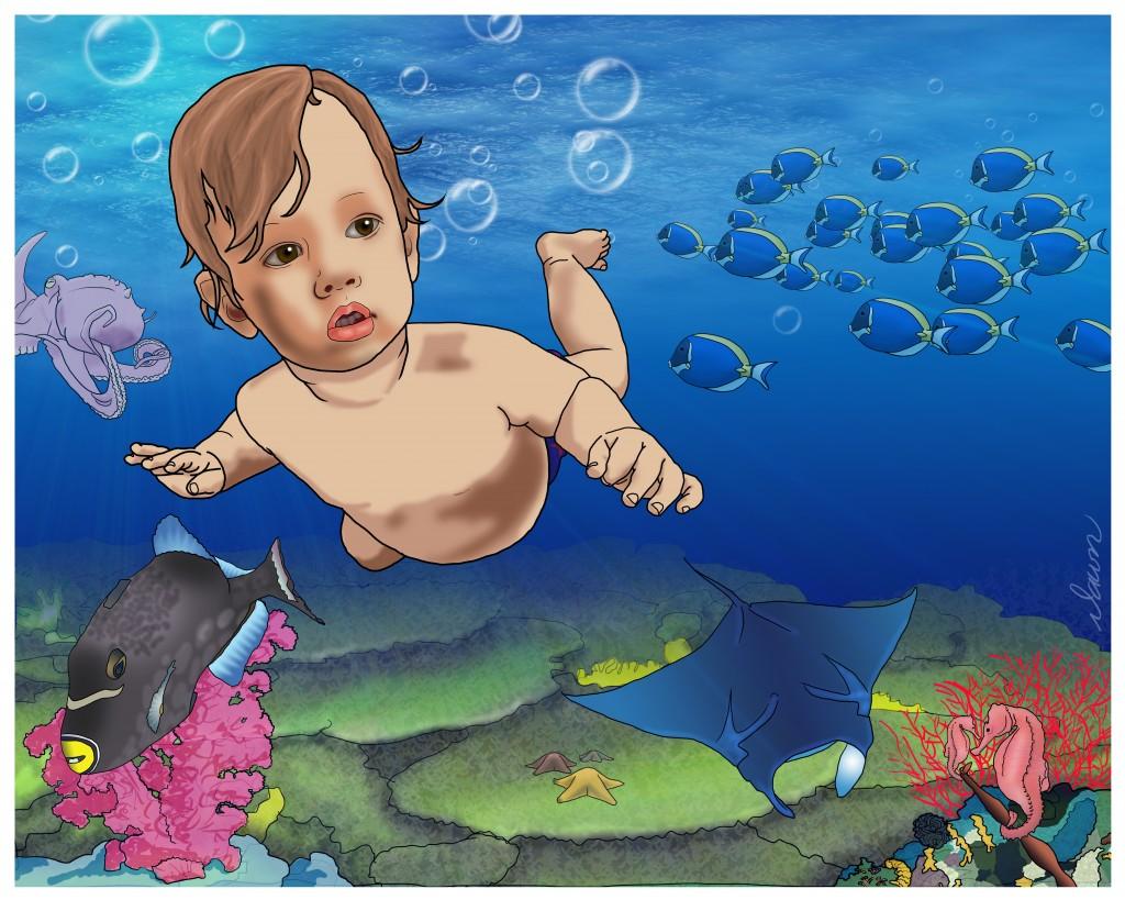 Luke Undersea Photoshop painting by Dawn Pedersen