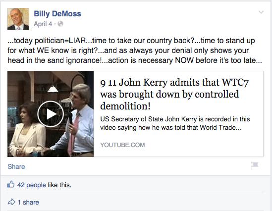Billy DeMoss Facebook post