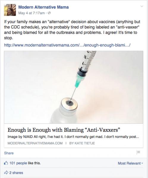 Modern Alternative Mama Facebook comment