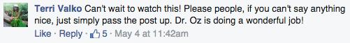 Dr. Mehmet Oz Facebook comment