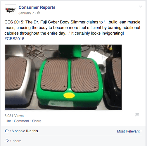 Consumer Reports Facebook page