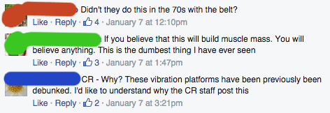 Consumer Reports Facebook  comments