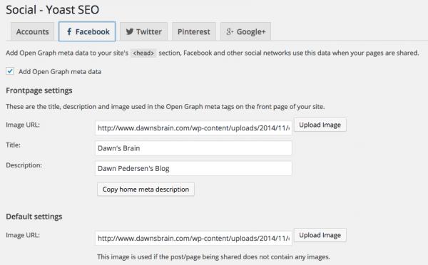 Yoast SEO plugin Social tab