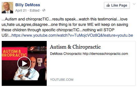 Bill DeMoss claims chiropractic cures autism
