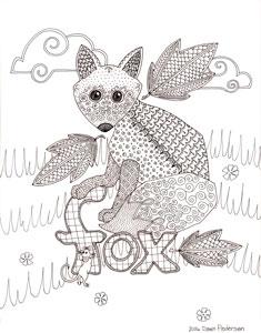 fox drawing by dawn pedersen 2015